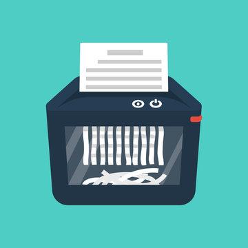 Shredder machine. Paper shredder. Destruction of documents. Cartoon style. Vector illustration flat design. Isolated on background. Information protection.