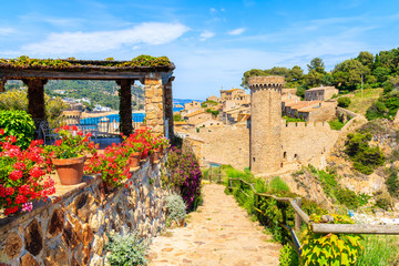 Fototapete - Flowers on coastal path in Tossa de Mar and view of castle with old town, Costa Brava, Spain