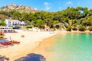 Fototapete - Idyllic beach Aiguablava of near Fornells village, Costa Brava, Spain