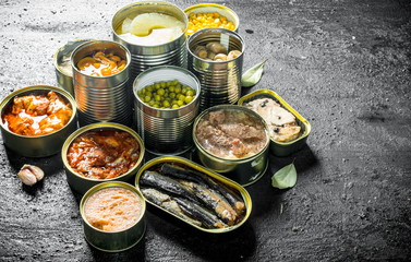 Canned food in various open cans.
