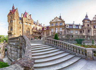 WROCLAW, POLAND - JUNE 15, 2019: Castle in Moszna near Opole, Poland. One of the most beautiful historic residences in Poland. The palace has 365 rooms and 99 towers and turrets. Fototapete