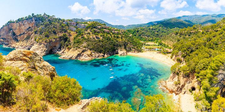 Panoramic view of Cala Giverola, most beautiful beach on Costa Brava, Spain