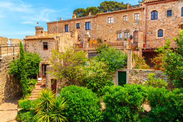 Wall Mural - Green tropical plants and stone houses in old town of Tossa de Mar, Costa Brava, Spain