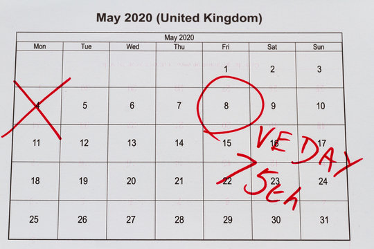 Monthly calendar with 4 May crossed out and 8 May 2020 VE Day circled