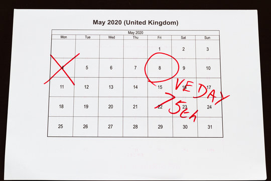 Monthly calendar with 4 May crossed out and 8 May 2020 VE Day circled,landscape