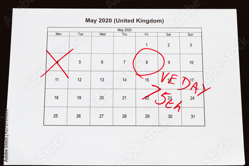 Monthly calendar with 4 May crossed out and 8 May 2020 VE