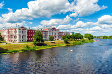 Panoramic view on river Lielupe and Jelgava Palace the largest Baroque-style palace in the Baltic states, Latvia Wall mural