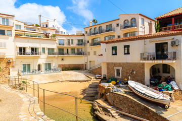 Fototapete - View of beach and holiday apartments in Fornells village, Costa Brava, Spain