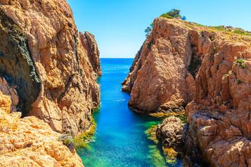 Wall Mural - Beautiful rocks and sea cove at Cala Aigua, Costa Brava, Spain