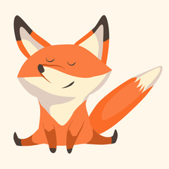 Fox cub character icon flat vector silly diverse tender adorable