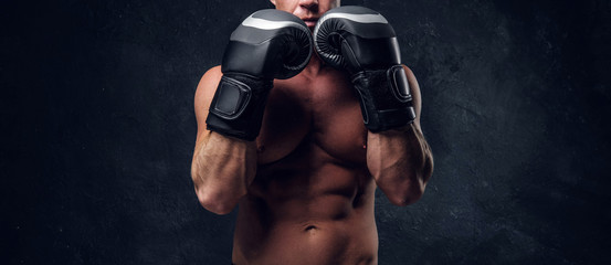 Muscular man is prepaired for boxing sparring, he is wearing his gloves and doing some warm up.