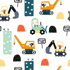 Seamless pattern with dog worker and heavy transports. Kids funny print. Vector hand drawn illustration.
