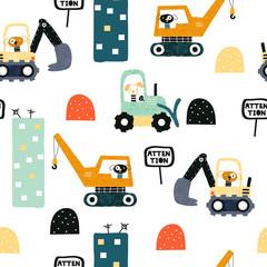 Modèle sans couture avec chien travailleur et transports lourds. Impression amusante pour enfants. Illustration vectorielle dessinés à la main.