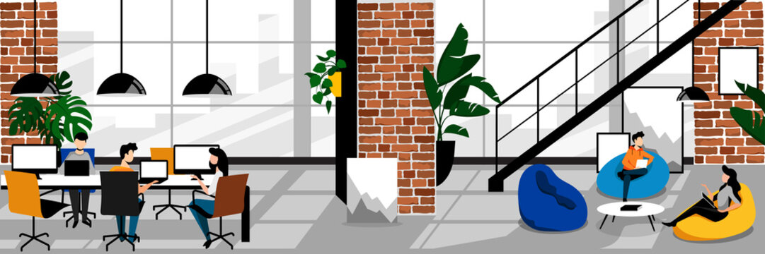 Creative freelancers people in coworking office. Vector flat cartoon illustration. Working space with loft interior.