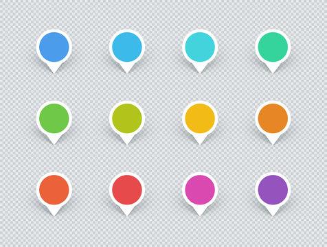 Marker Circle Label Sign Shapes Colorful 3d Vector Set