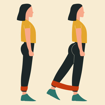 Woman doing standing kickbacks with band. Illustrations of glute exercises and workouts. Flat vector illustration