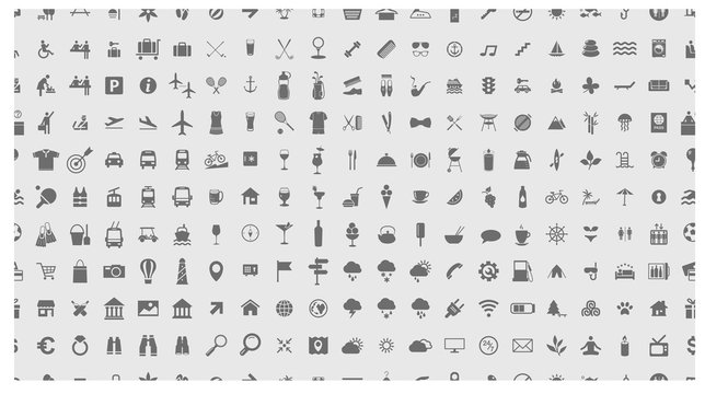 Icon set. Seamless pattern. Vector illustrations with travel, transport, hotel, rest, shopping, vacation and beach simbols.