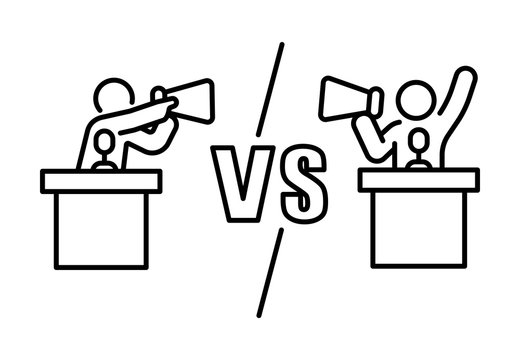 Candidate dispute versus opposition with megaphone concept debate banner outline vector