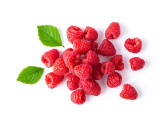 ripe raspberries isolated on white background. top view