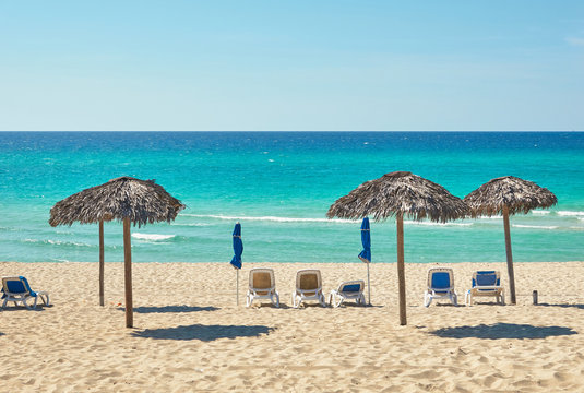 Varadero, chairs and umbrellas on the beach