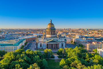 Saint-Petersburg. Russia. City panorama of St. Petersburg. Isaakievsky cathedral. High-rise city panorama with St. Isaac's Cathedral. City landscape. Architecture of St. Petersburg. Russian landmarks. Wall mural