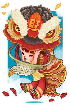 Lion dance illustrations