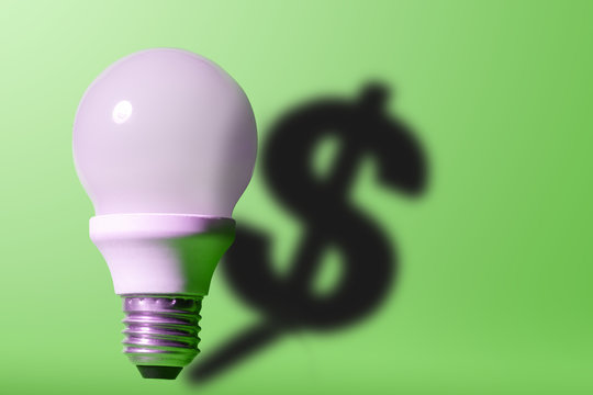 Good idea it's money. Light bulb on bright green background with a dollar sign shadow.