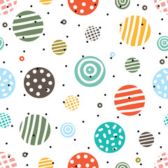Decorative abstract polka dots in the style of the 60s.. Cheerful polka dot vector seamless pattern. Can be used in textile industry, paper, background, scrapbooking.