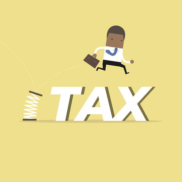 African businessman skipping taxes with spring.