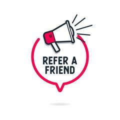 Refer a friend with loudspeaker in speech bubble.