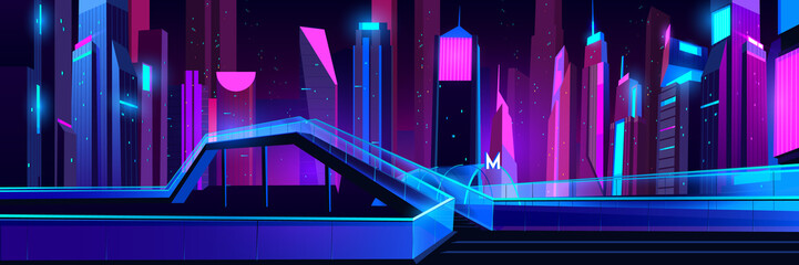 Metro entrance in night city with neon illumination, glass pedestrian overhead road with stairs. Futuristic cityscape background. Modern buildings exterior architecture. Cartoon vector illustration Fotomurales