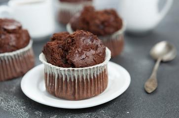 chocolate muffin, chocolate muffin, pastry, coffee dessert