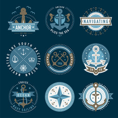 Nautical logo template set
