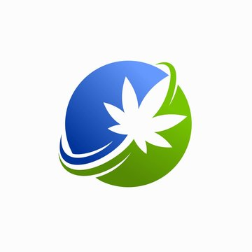 cannabis leaf logos and world ball concepts