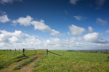 A farm gate on a hill in rural Victoria, in Australia. Fototapete