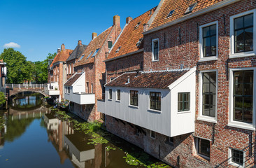 The famous 'hanging kitchens' over the Damsterdiep in the old town of Appingedam, Groningen, Holland.