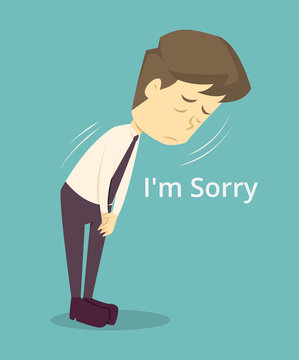 Businessman sorry, apologize.cartoon of business,employee unsuccess is the concept of the man characters business, the mood of people,can be used as a background,banner,infographic.vector illustration