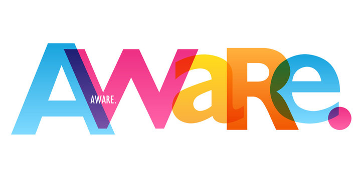 AWARE. colorful vector typography banner