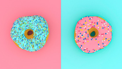 3d rendered image of donuts on pink and light blue background