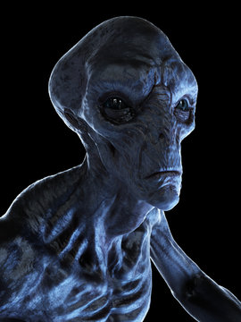 3d rendered illustration of an alien on black background