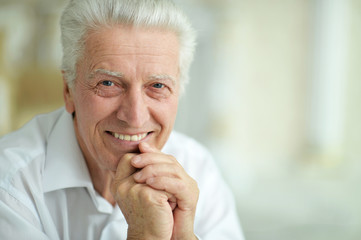 Portrait of beautiful smiling senior man posing