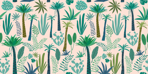 Tropical pattern with abstract plants design. Vector seamless texture.