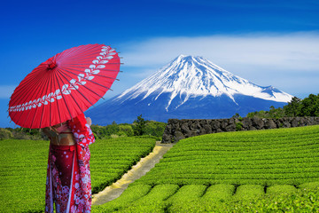 Wall Mural - Asian woman wearing japanese traditional kimono at Fuji mountains and green tea plantation in Shizuoka, Japan.