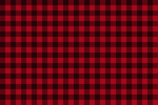 Red Black Lumberjack plaid seamless pattern