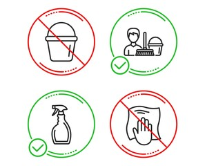 Do or Stop. Spray, Cleaning service and Bucket icons simple set. Washing cloth sign. Washing cleanser, Bucket with mop, Wipe with a rag. Cleaning set. Line spray do icon. Prohibited ban stop. Vector
