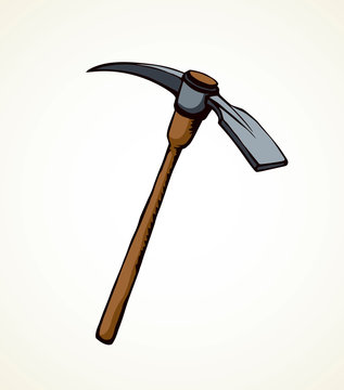 Pick axe icon. Vector drawing sign