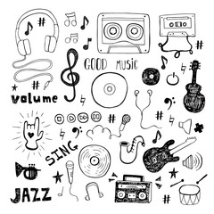 Set of music doodle isolated on white background