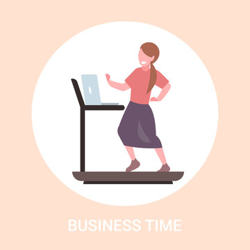 businesswoman using laptop running on treadmill business woman workout hard working concept flat full length