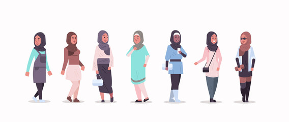 Wall Mural - set arabic women in hijab different arab girls wearing headscarf traditional clothes female cartoon characters collection full length flat horizontal