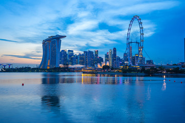 Wall Mural - Singapore city skyline with view of Marina Bay.